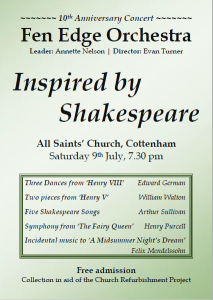 Inspired by Shakespeare concert poster (July 2016)