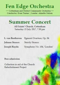 Summer concert 2017 poster - All Saint's Church, Cottenham. Saturday 15th July, 7:30 pm