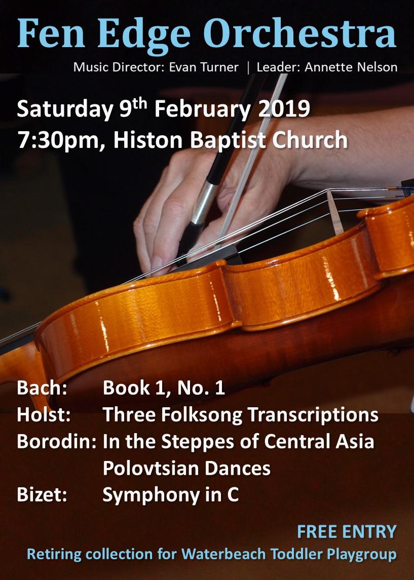 FEO Spring 2019 poster - Histon Baptist Church, Saturday 9th July, 7:30 pm